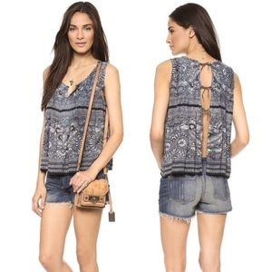 Free people Myna top blue size small